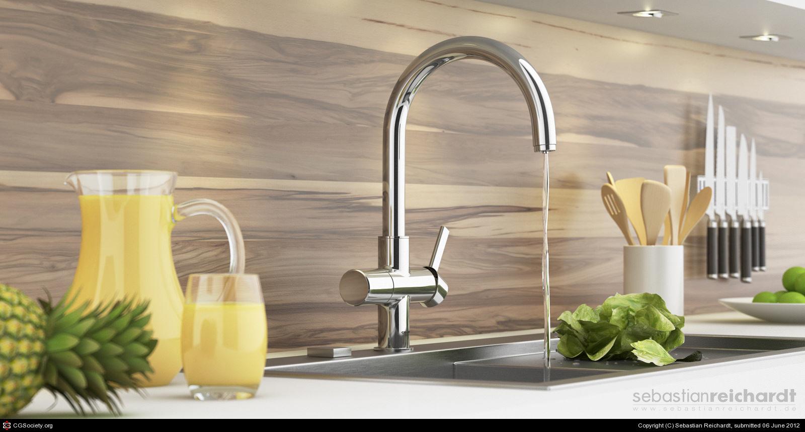Grohe Kitchen Faucet By Sebastian Reichardt 3d Cgsociety Inside Grohe  Kitchen Faucet