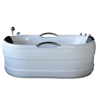Single spa bath with silver handles