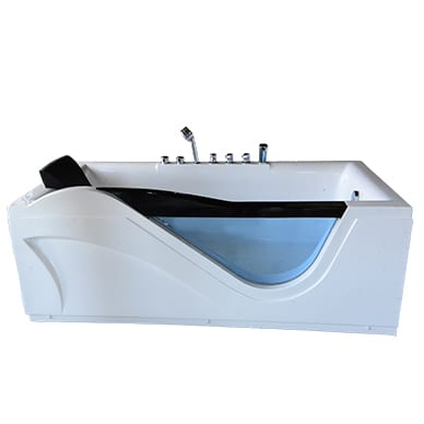 Single luxury bath with head rest and glass panel